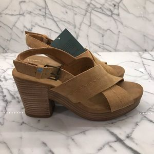 Toms Honey Suede Cross Over Buckle Strap Sandal.